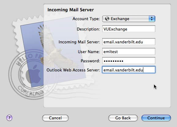 Mac Mail Configuration | Vmail | Messaging | Services