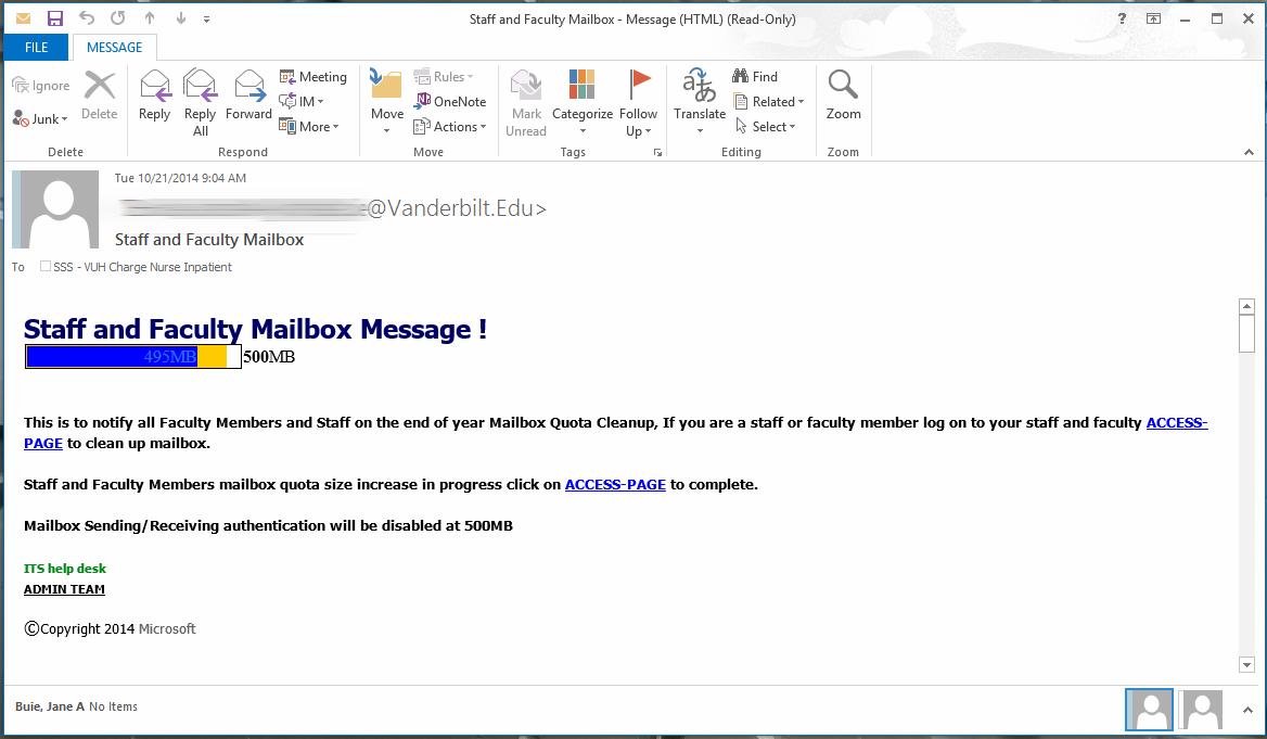 Email Phishing Messaging Services Vanderbilt It