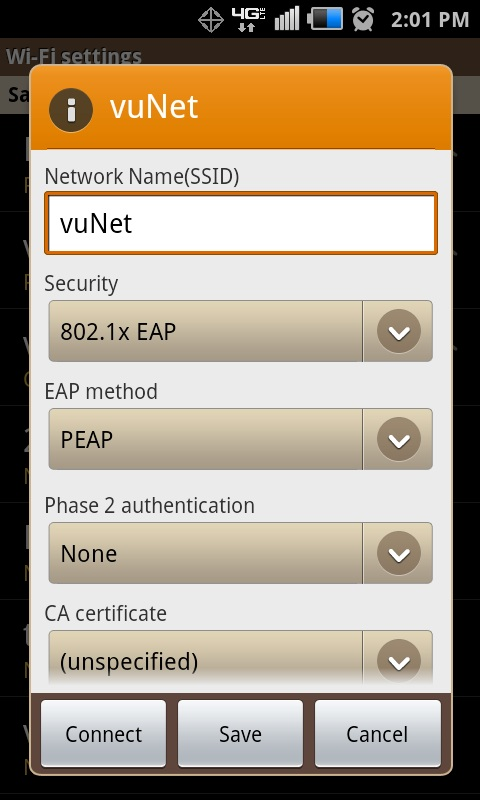 Configuration: vuNet - Android | Wireless | Network | Services