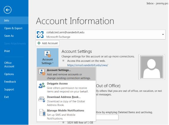Vmail General Connection Configuration | Email and Calendaring